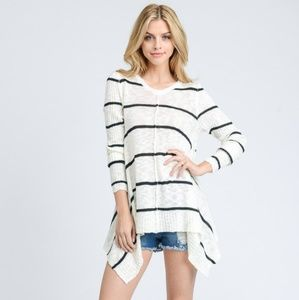Shark Bite Hem Striped sweater in Cream